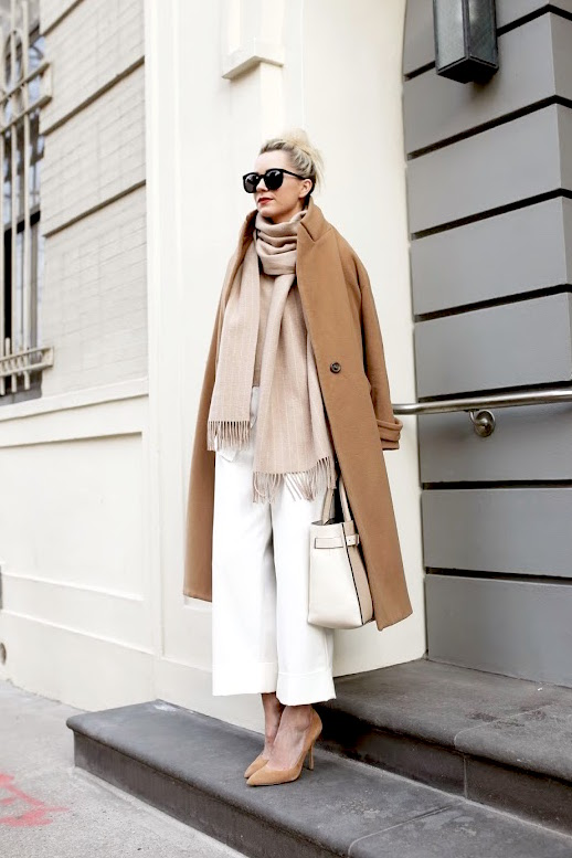 Le-Fashion-Blog-Blogger-Blair-Street-Style-Sunglasses-Long-Camel-Coat-Pin-Stripe-Scarf-Tan-Sweater-Two-Tone-Tote-White-Culottes-Suede-Pumps-Via-Atlantic-Pacific