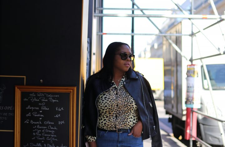 Leopard Vintage top with a Moto Leather Jacket.