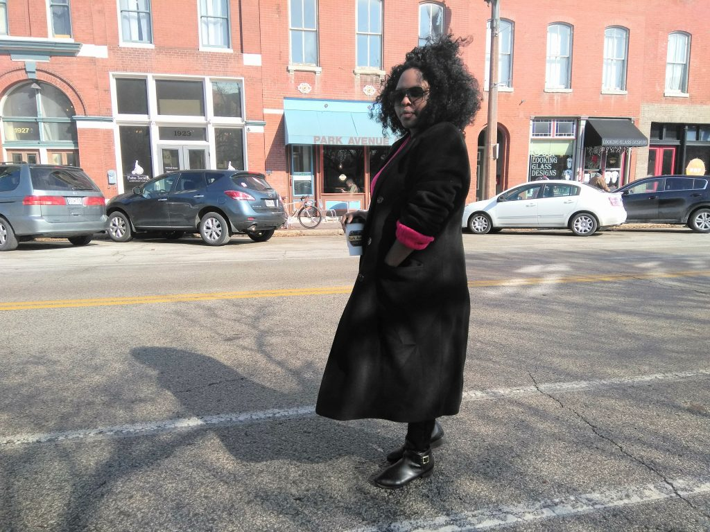 The Oversized black coat that I found at the thrift store.